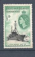 "FALKLAND ISLANDS DEPENDENCIES   1954 Ships      HINGED        ""John Biscoe"" - Falkland"