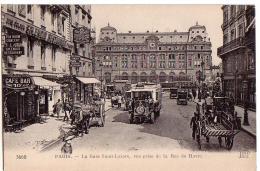 PARIS: La Gare Saint-Lazare, Vue Prise De La Rue Du Havre - Pariser Métro, Bahnhöfe