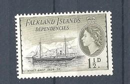 "FALKLAND ISLANDS DEPENDENCIES   1954 Ships     MNH   ""Wyatt Earp"" - Falkland"
