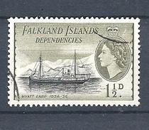 """FALKLAND ISLANDS DEPENDENCIES   1954 Ships     USED   """"Wyatt Earp"""" - Falklandinseln"""