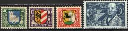 SVIZZERA - 1930 - PRO JUVENTUTE - STEMMI DI CITTA' E J. GOTTHEL - NUOVI MNH - Svizzera