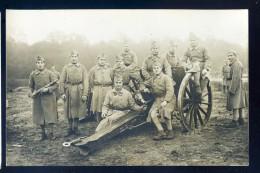 Cpa Carte Photo Groupe De Militaires Sur Une Mitrailleuse  JIP64 - Ausrüstung