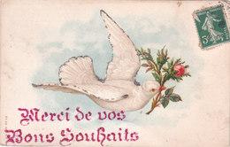 Carte Postale Ancienne Fantaisie - Oiseaux - Quelques Paillettes - Merci De Vos Bon Souhaits - Tarjetas De Fantasía