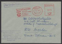 """Berlin 1080 Absenderfreistempel 1986 """"Techno COMMERZ Außenhandelsbetrieb - Ihr Partner Ffür Erfolgreiche Investitionen"""" - [6] République Démocratique"""