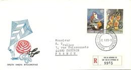 Lettre Recommandée FDC GRECE EUROPA ¤ Oiseau-siffleur, Papillon ¤ 1989 - Europa-CEPT
