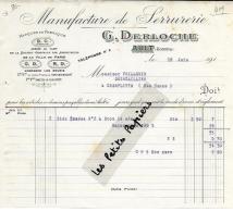 80 - Somme - AULT - Facture DERLOCHE - Manufacture De Serrurerie – 191? - REF 252 - 1900 – 1949