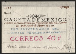 G)1972 MEXICO, 1ST ARTWORK AUTORIZE TO CONMEMORATE THE FIRST NEWSPAPER IN MEXICO, STAMP PRINTED - Mexico