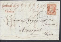 FR - 1862 - Napoléon III 40 Ct Oblitération Losange P.C 2710 Sur Pli De Rodez Vers Marvejols - - 1853-1860 Napoléon III