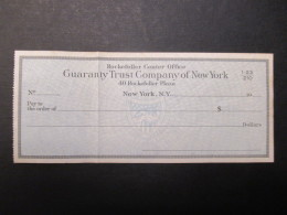 VP CHèQUE (V1618) GUARANTY TRUST COMPANY OF NEW YORK (2 Vues) Rockfeller Center Office New York Rockfeller Plaza 40 - Actions & Titres