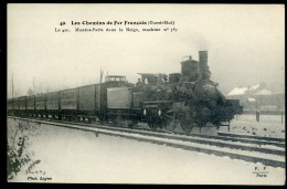 Cpa Trains Les Chemins De Fer Français - Etat - Le 420 Mantes Paris Dans La Neige , Machine N° 787 -- JIP63 - Trains