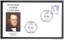 ITALY ITALIE 2010. SPECIAL POSTMARK. CAMILO BENSO DI CAVOUR. Prime Minister Of The Kingdom Of Piedmont-Sardinia, - Célébrités