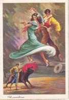 POSTAL DE UNA SEVILLANA BAILANDO (SEVILLA-BAILE-ANDALUCIA) TORO-BULL-TORERO (ZAMBRA) - Bailes