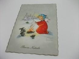 BUON NATALE PAESAGGIO INVERNALE CON BAMBINA CHE SI SCALDA CON FUOCO  ILLUSTRATORE VEDI FIRMA FRANKIE - Christmas