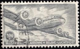 BELGIUM - Scott #C11 DC-4 Skymaster 'Perf. 11 ½' (*) / Used Stamp - Airmail