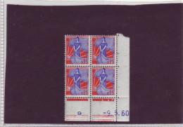 N° 1234 - 0,25F MARIANNE A LA NEF - O De O+P - Tirage Du 18.3.60 Au 10.5.60 - 9.05.90 - - 1960-1969