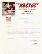Beau Document Du 31/051937 KOSTOS Engins De Pêche -Avenue Daumesnil  75 Paris - France