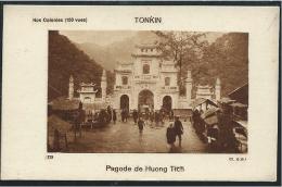 Indochine Chromo TONKIN Pagode De Huong Tich Dos Vierge 80x50mm TB Colonies Françaises - Cromo
