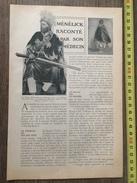 ANCIEN DOCUMENT 1908 NEGUS MENELICK RACONTE PAR SON MEDECIN - Collections