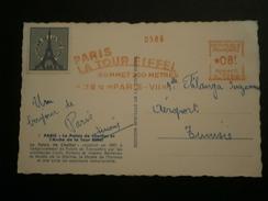 FRANCE EMA PARIS TOUR EIFFEL SOMMET 300 METRES LETTRE ENVELOPPE COVER LETTER CARTE CP - Marcophilie (Lettres)
