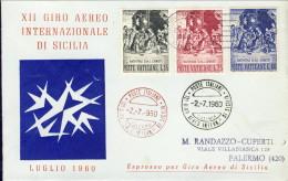 1960--Vaticano Aerogramma Illustrato 12º Giro Aereo Internazionale Di Sicilia Del 2 Luglio, Catalogo Pellegrini 007 - Aéreo