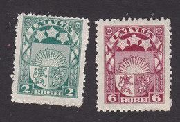 Latvia, Scott #103, 106, Mint Hinged, Arms And Stars, Issued 1921 - Latvia