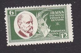 Latvia, Scott #B69, Mint Hinged, Rainis And Lyre, Issued 1930 - Latvia