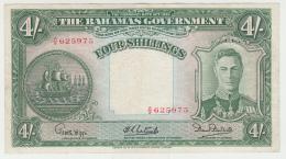 Bahamas 4 Shilings 1936 VF+ Pick 9e  9 E King George VI - Bahamas