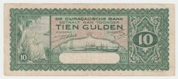 Curacao 10 Gulden 1939 VF RARE Pick 23 - Nederlandse Antillen (...-1986)
