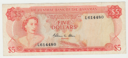 Bahamas 5 Dollar 1974 VF+ Pick 37b - Bahamas