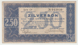 Netherlands 2.5 Gulden 1938 Zilverbon VF+ CRISP Banknote Pick 62 - [2] 1815-… : Regno Dei Paesi Bassi