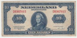 Netherlands 10 Gulden 1943 VF Pick 66 - [2] 1815-… : Kingdom Of The Netherlands