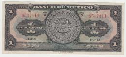 Mexico 1 Peso 1943 VF++ Pick 28e 28 E Series G - Mexico