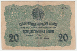 Bulgaria 20 Leva Zlato 1916 VF CRISP Banknote Pick 18a  18 A - Bulgarije