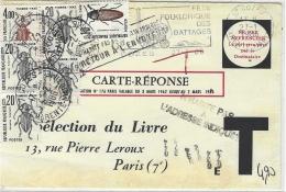 """1986- Carte-réponse  """" Sélection Du Livre """" Port Payé Par Le Destinataire TAXE à 4,90 F. - Marcophilie (Lettres)"""