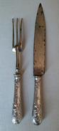 SERVICE A VIANDE COUTEAU FOURCHETTE A GIGOT MANCHE ARGENTE - Couteaux