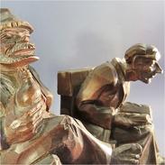 *SERRE-LIVRES HUMORISTIQUES EN BOIS SCULPTE - Statue Sculpture Art Populaire Bibliothèque Caricature Humour - Wood