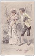 Romantiek Romance Couple Liefde Amour Love Carte Fantaisie Fantasiekaart Relief Gaufree Embossed Chapeau Vienne Style - Fantaisies
