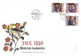 Schweden / Sverige. Weihnachten FDC 1996,  Mi:1969 - 1971 Mittelalterliche Handschriften - Histoire