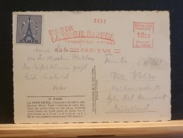 64/388      CP   FRANCE OBL. ROUGE TOUR EIFFEL  1953 - Postmark Collection (Covers)