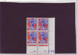 N° 1234 - 0,25F MARIANNE A LA NEF - H De G+H - 2° Partie Du Tirage Du 10.2.60 Au 15.3.60 - 12.03.1960 - - 1960-1969
