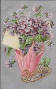 1908 Bonne  Fête Voeux Bloem Bloemen Fleurs Fleur Flowers Relief Embossed Gaufree Fantaisie Fantasiekaart Carte CPA - Blumen