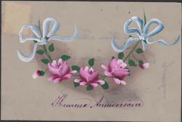 Heureux Anniversaire Celluloid Peinte à La Main Bloemen Fleurs Flowers Fioiri Flor Fantaisie Fantasiekaart Carte CPA - Blumen