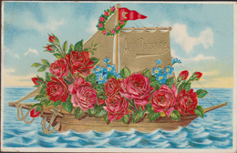 Heureux Anniversaire Roses Boat Bateau Rosas Anker Fleurs Flowers Relief Embossed Fantaisie Fantasiekaart Carte CPA - Blumen