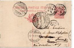 1913 Italy Italia Intero Leoni C10 Vg Verona X Venezia Rispedizione Firenze Annullo A Ciclo Continuo Stationery Card - 1900-44 Vittorio Emanuele III