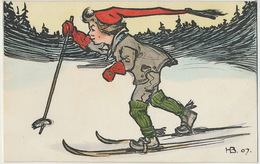 Art Card Signed H B 1907 Sweden Skiing Ski - Sports D'hiver