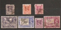 BURMA 1947 VALUES TO 8a BETWEEN SG 69 AND SG 78 FINE USED Cat £9.85 - Burma (...-1947)