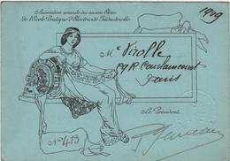 Carte De Membre Association Des Anciens élèves Ecole Pratique D'Electricité Industrielle 1909 Femme Art Nouveau VIROLLE - Cartoncini Da Visita