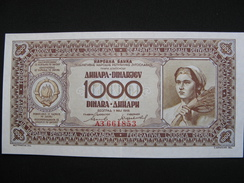 Banknote Federal Yugoslavija 1000 Dinara 1946 (P-67-variant Without Protective Thread) AUnc - Yugoslavia