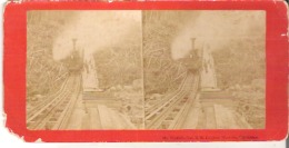 Mount Washington Railroad Engine Blowing Off Steam - Stereoscope Cards