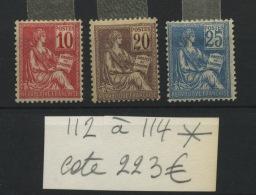 112  113  114 *    Très Propre Première Charnière  Cote 223 E  Droits De L'Homme - Francia